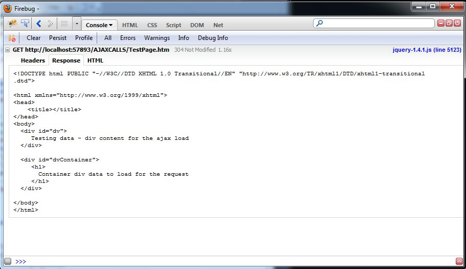 firebug shows the response that get returns when we call the page by load method
