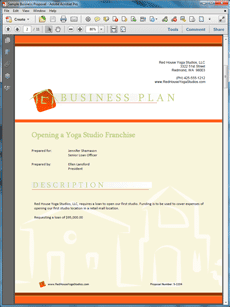 Business plan cover pages