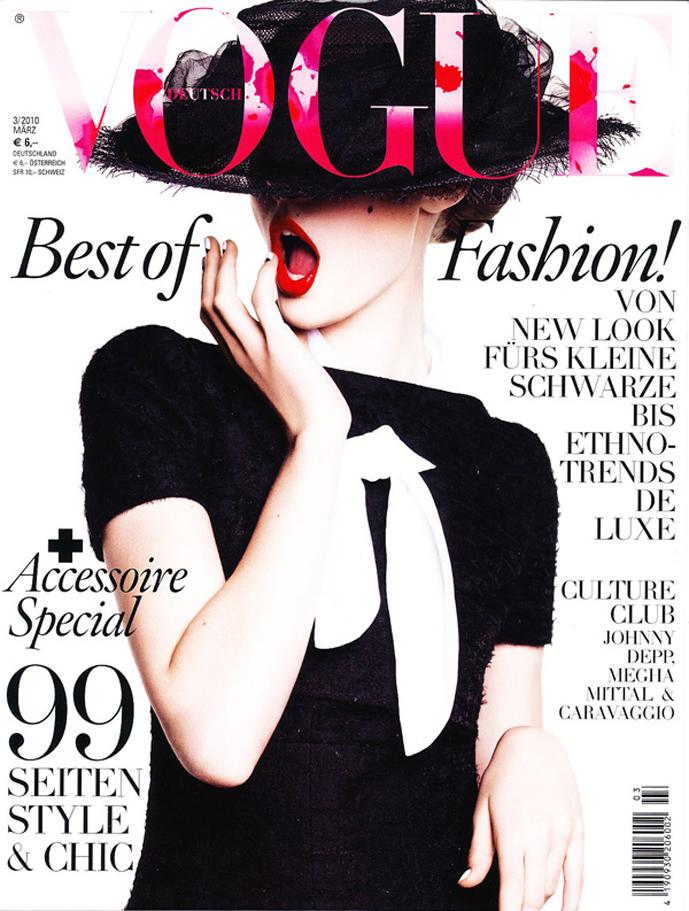 Frida Gustavsson in Vogue Germany March 2010 (photography: Greg Kadel)