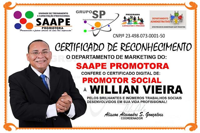 APRESENTADOR WILLIAN VIEIRA, TV BAND PINHEIRO, RECEBE MAIS UMA PREMIAÇÃO PELOS TRABALHOS SOCIAIS DE