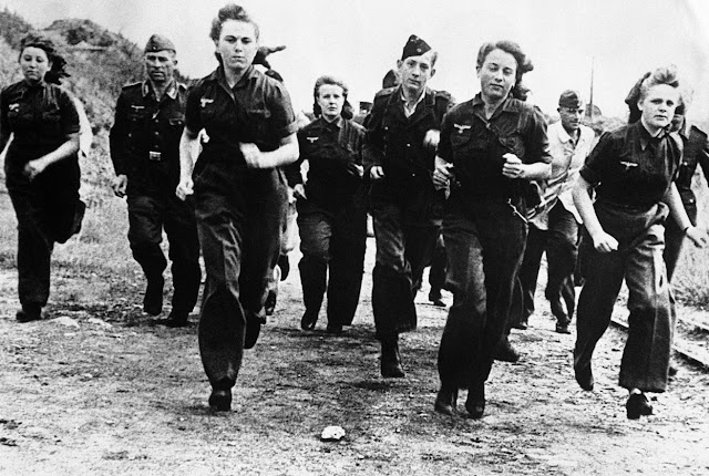 With Hitler facing a soldier shortfall, women were conscripted. Here German women train in the Luftwaffe. November 1944