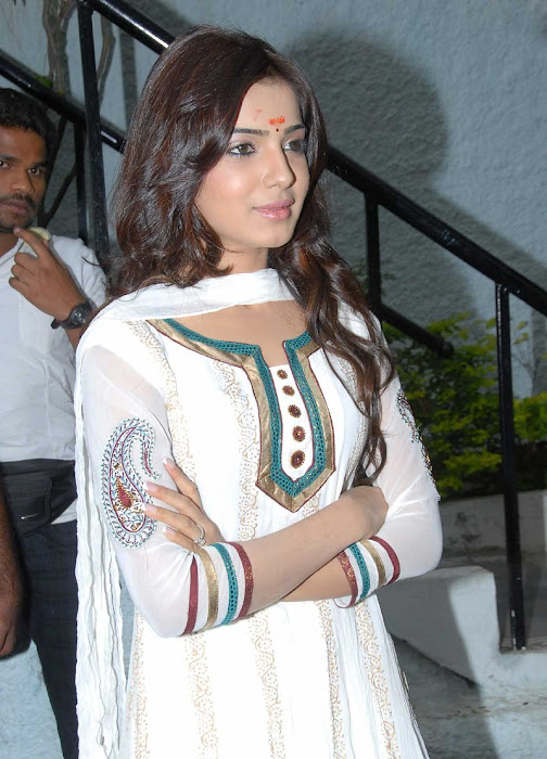 Actress Samantha in Cute in white churidar stills, Churidar Desgins Online photo gallery