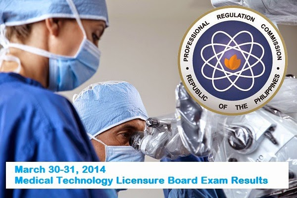 March 30-31, 2014; Medical Technology Licensure Board Exam Results