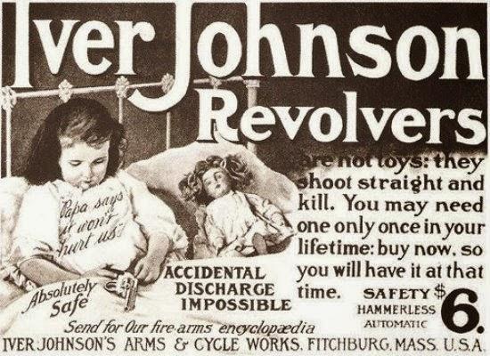Propaganda dos Revolveres Iver Johnson com criança