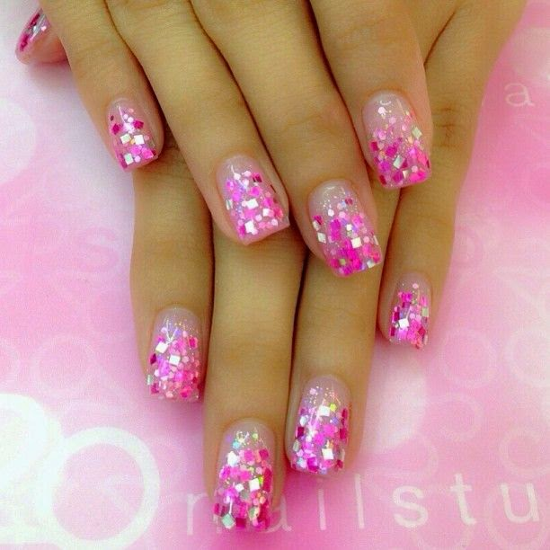 Ombre Nails Pretty Nail Design Ideas French Manicure Gem Stones Nude Pink Blue Square Round Natural