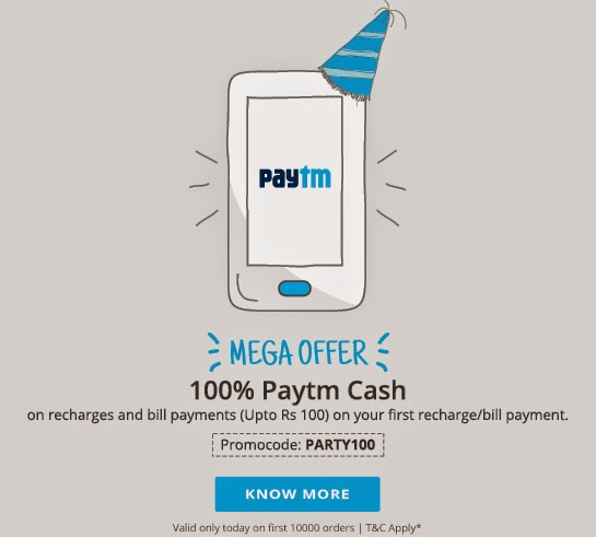 Promocode paytm april offer Rs 100 cashback