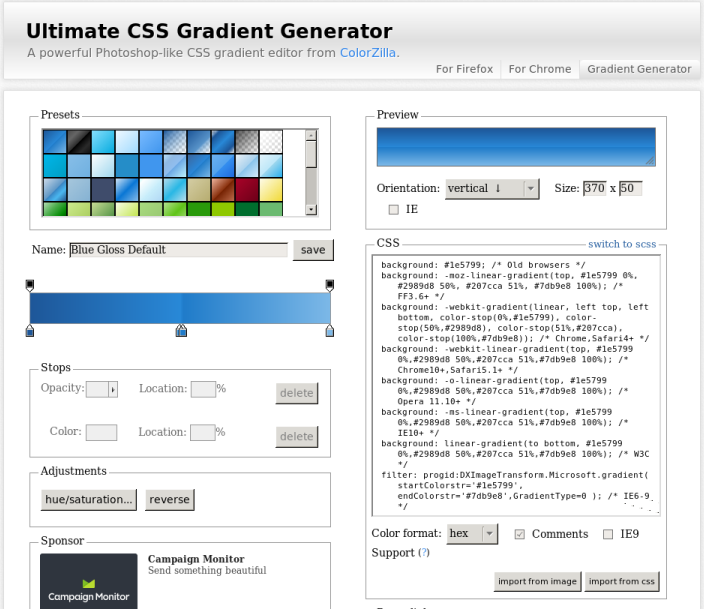 CSS gradiant genrator