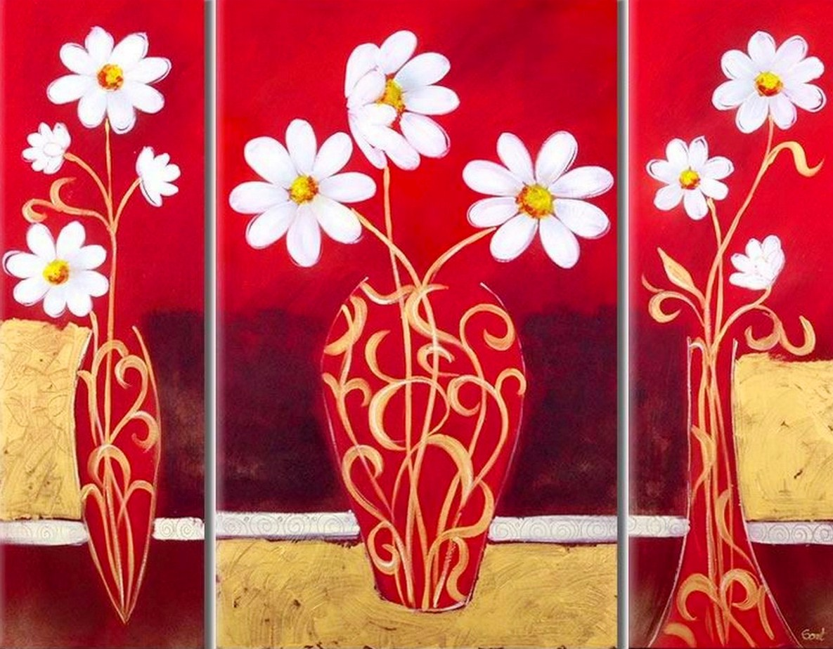 Cuadros modernos triptico flores blancas car interior design - Cuadro decorativos modernos ...