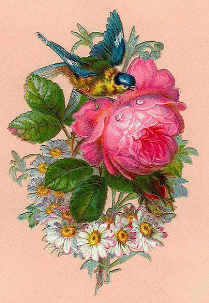 lilac & lavender vintage bird