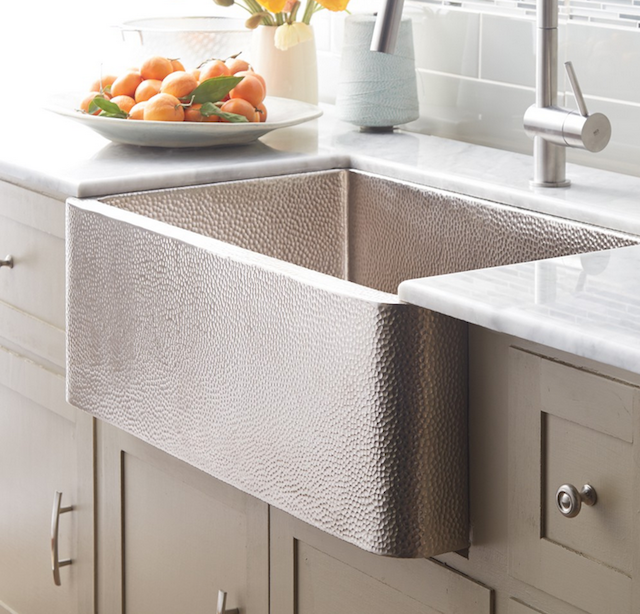 Native Trails farmhouse sink nickel plated