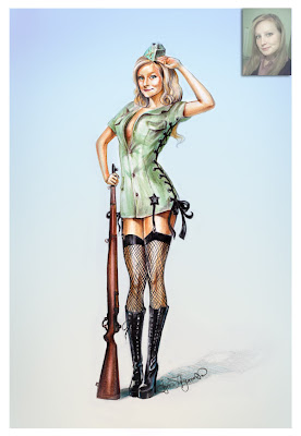 military pin up girl with a rifle, saluting pinup