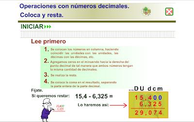 Iniciación en la resta con números decimales, Matemáticas,numeración,decimales