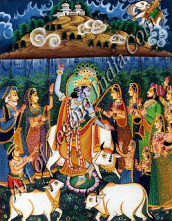 Krishna Lifted Goverdhan Mountain