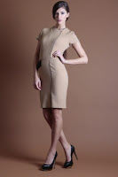 Rochie bej cu detalii negre Nola Fashion