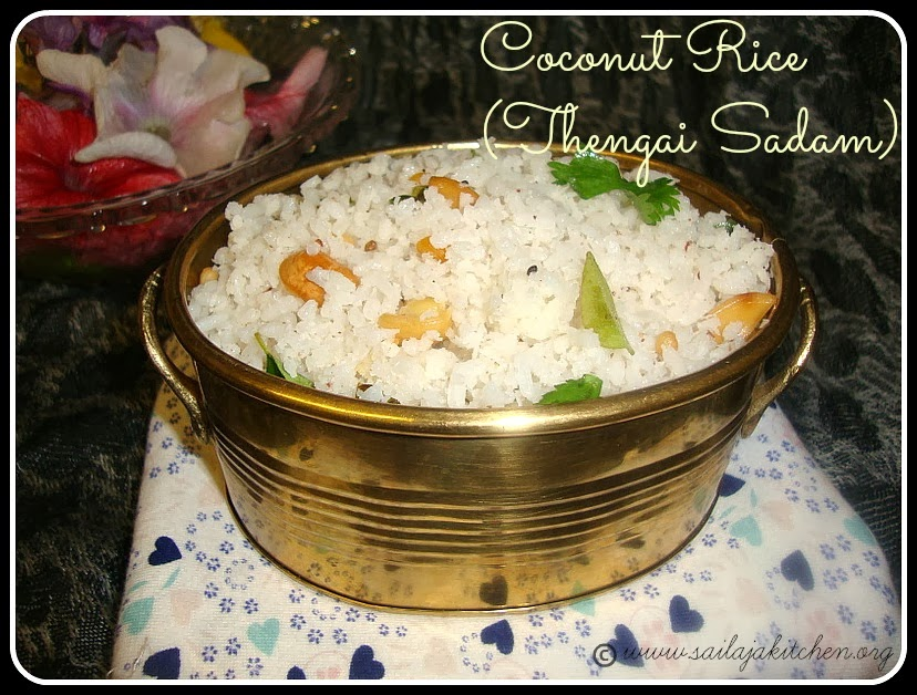Coconut Rice recipe,Thengai Sadam recipe,South Indian Coconut Rice Recipe / Thengai Sadam Recipe / Kobbari Annam Recipe