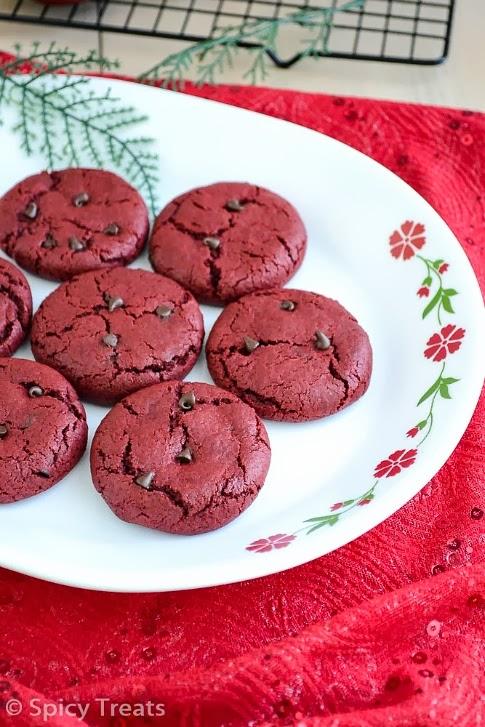 Spicy Treats Red Velvet Chocolate Chip Cookies Red Velvet Cookies Christmas Cookies