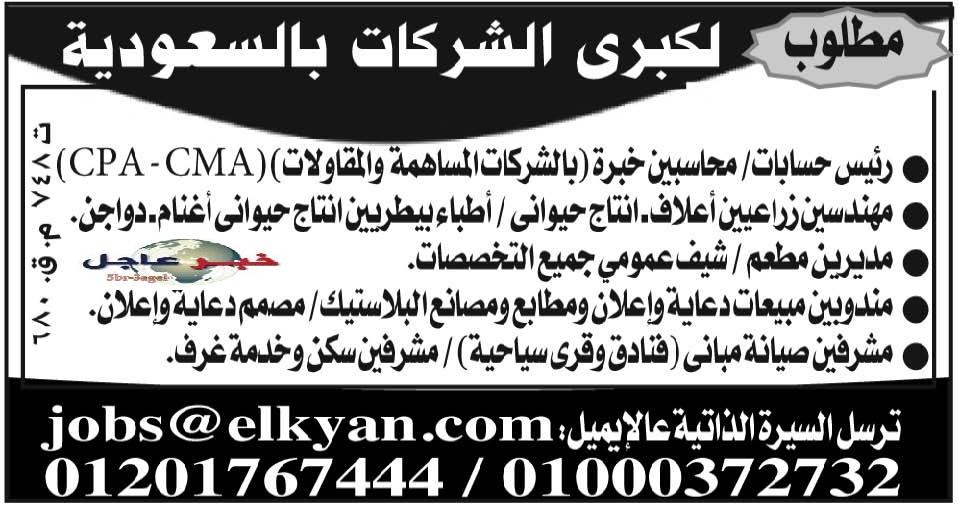 فوراً - وظائف لكبرى الشركات السعودية لمختلف التخصصات وجميع المؤهلات - منشور الاهرام