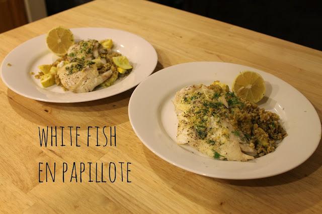 white fish en papillote, Blue Apron fish
