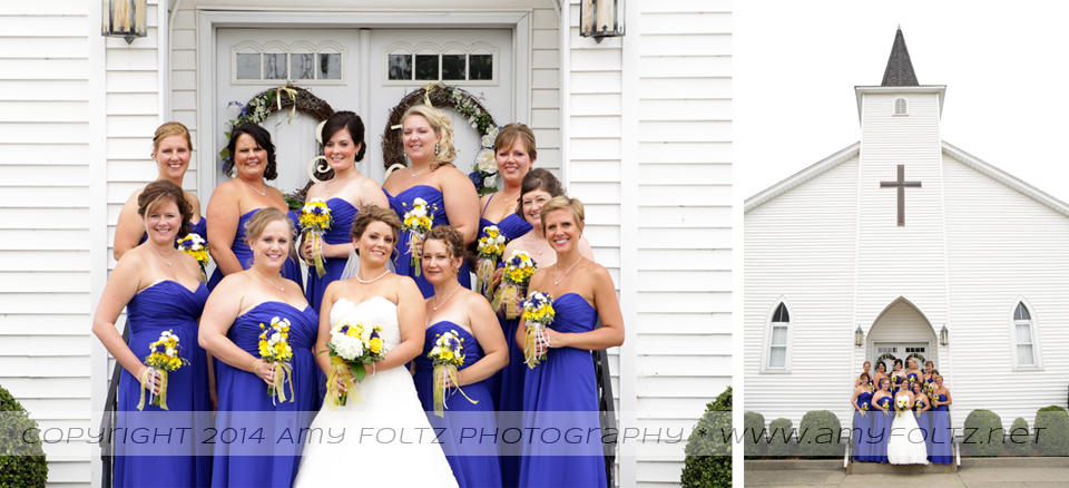 bride and bridesmaids outside little while chapel