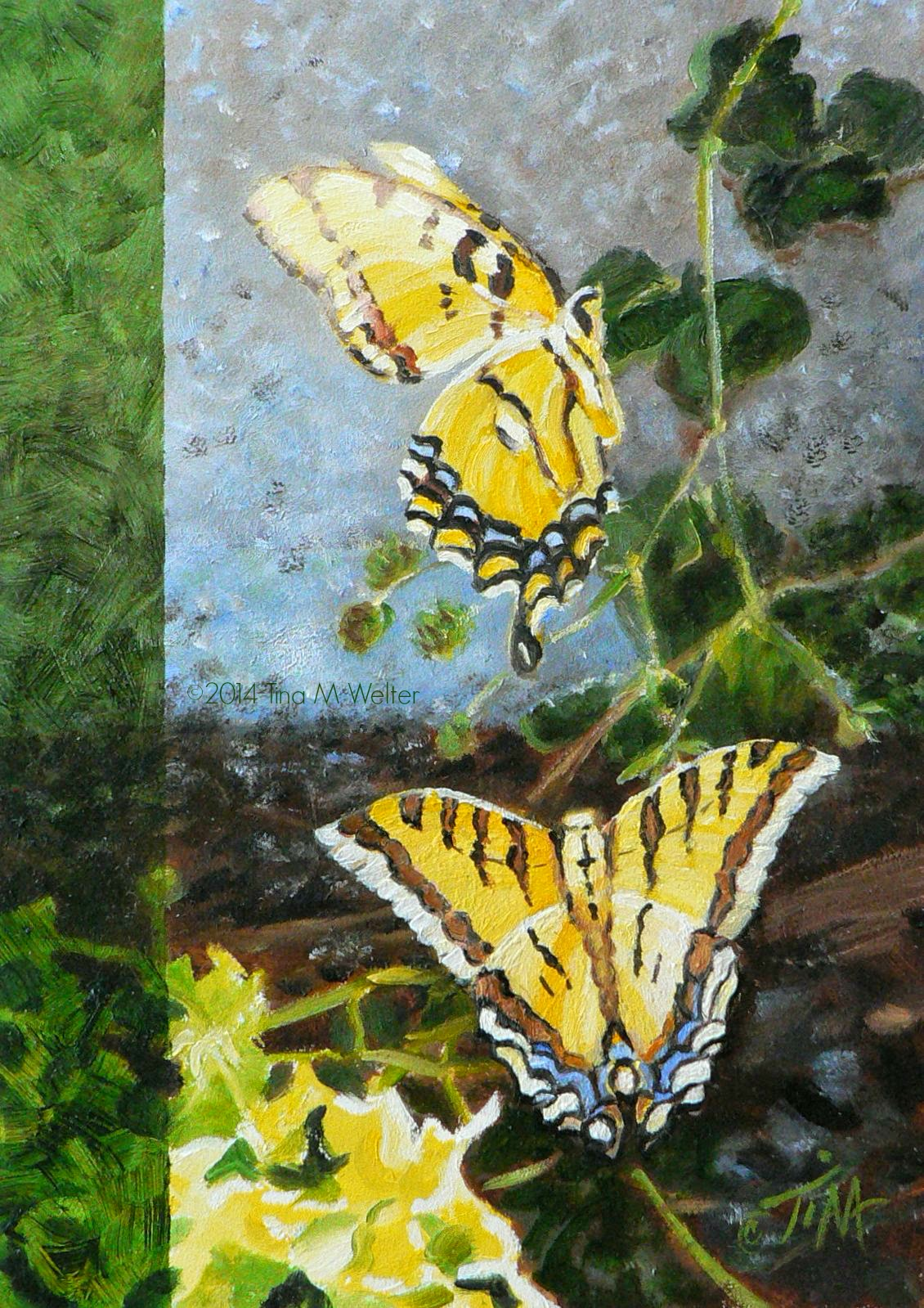 """A Time to Dance"" 7""x 5"" oil on gessobord, ©2014 Tina M Welter.  Two Swallowtail butterflies dance in the sunshine."