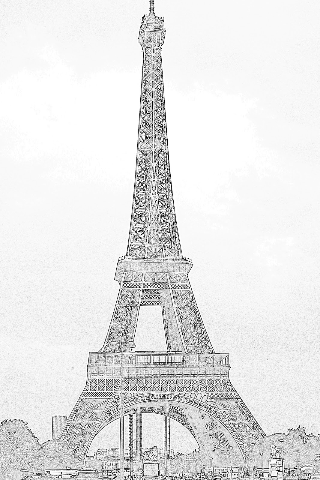 Eiffel Tower Pencil Sketch American Mom in Bordea...
