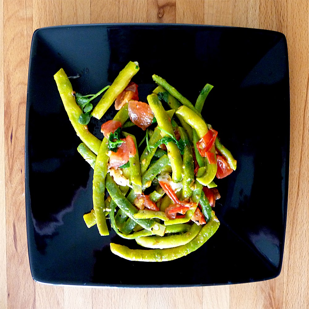 French bean, tomato and cumin salad