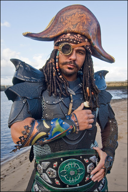 steampunk pirate man wearing pirate hat, chainmail, armor, eyepatch
