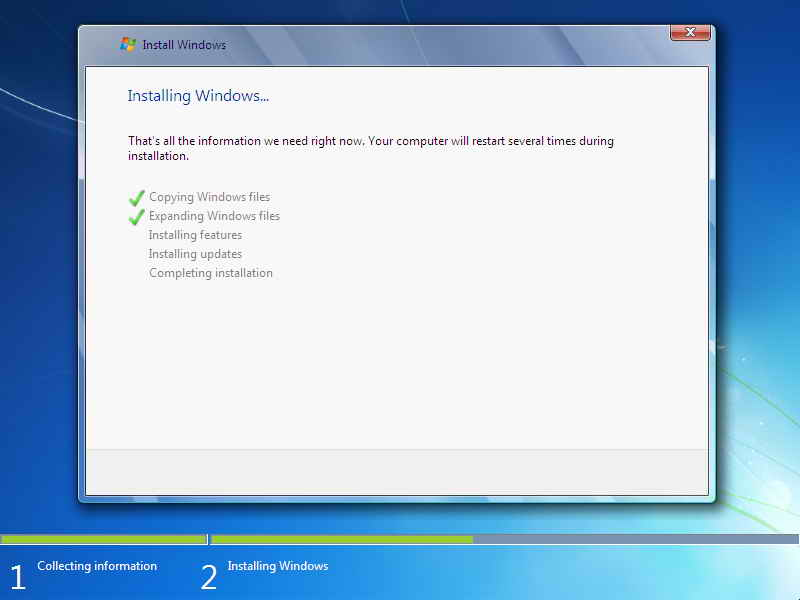 ... windows 7 dan klik next sekarang akan mulai proses instal windows 7