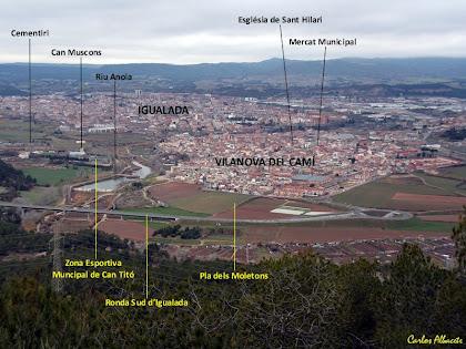 Panoràmica de Vilanova del Camí i d'Igualada des del Pujol de la Guàrdia. Autor: Carlos Albacete