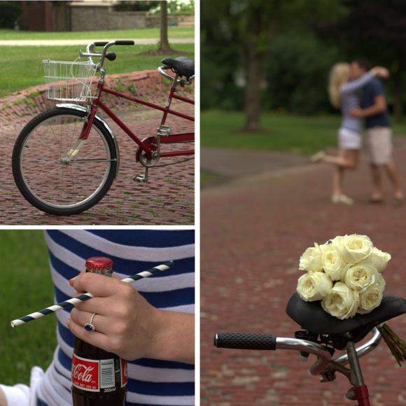Props like a tandem bike, bouquet of white roses, and fun Coca-Cola bottlers were great additions to the engagement photo shoot.
