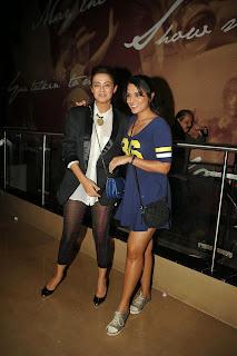 Richa Chadda in Cute Blue Small Dress and Surveen Chawla in Lovely Transparent Leggings at Khamoshiyaan Premiere Mumbai