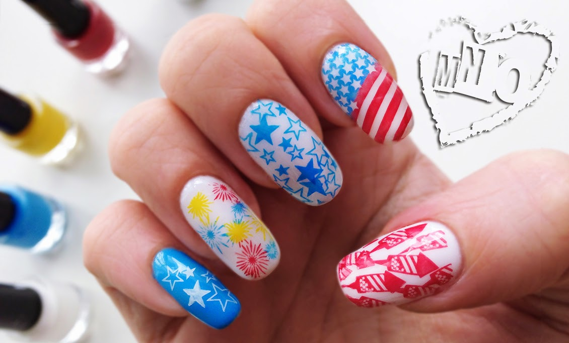 4th of July nail independence day design art stars stripes fireworks