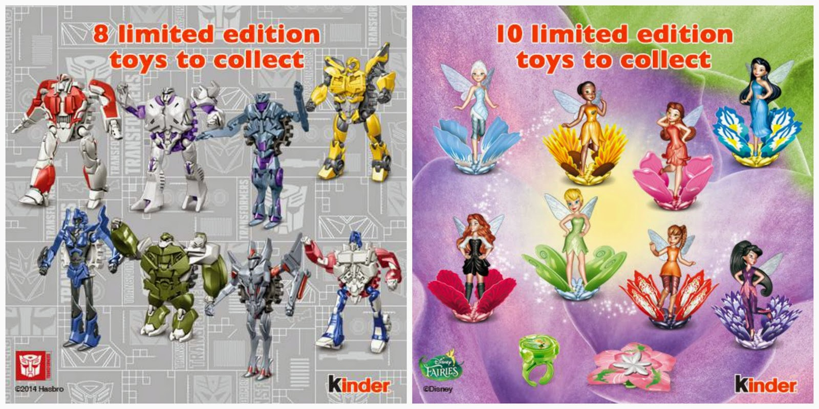 Kinder toys Transformers Disney Fairies
