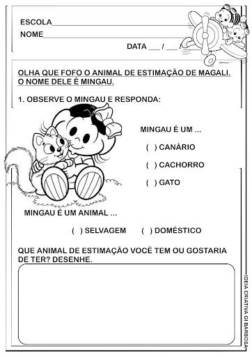 Atividade Animais Domésticos Educação Infantil