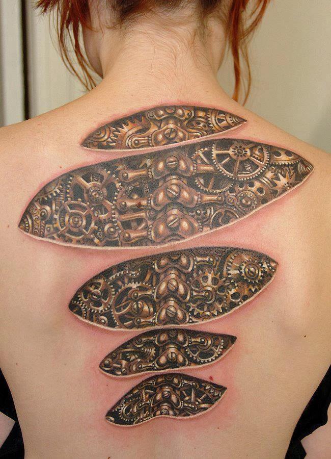 amazing tattoo world 3d mechanical tattoo on full back body. Black Bedroom Furniture Sets. Home Design Ideas