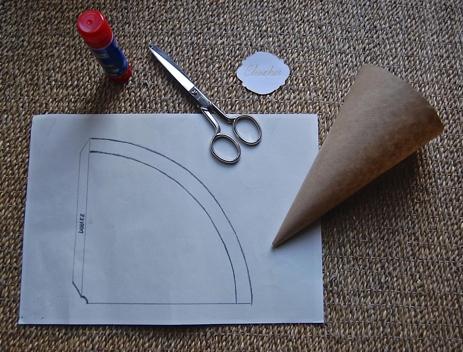 Telas papel tijera cono para chuches palomitas for Como puedo hacer un cono