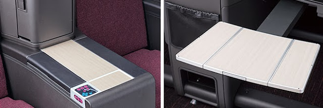 JAL SKY SUITE II has a large side console and dining table