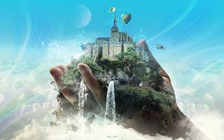Creative CG Design Hand Of God Castel Fantasy World HD Wallpaper