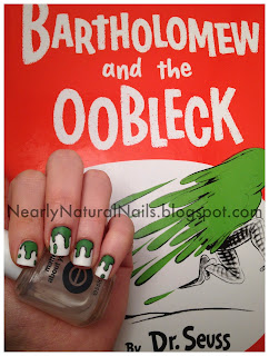 Bartholomew and the Oobleck by Dr. Suess, nail art, 31 Day Nail Challenge - Day 24: Inspired by a book, green and black paint spill nails, matte finish, Essie Matte About You