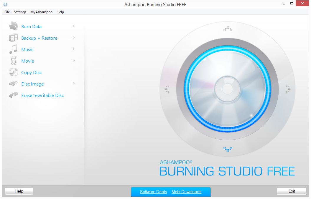 Ashampoo Burning Studio Free - User Interface