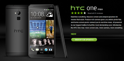 HTC One Max Black color published at the HTC Honk Kong website