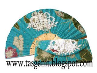 tas pesta clutch bag kain batik biru tosca