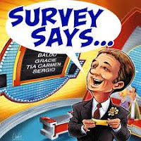 cartoon of spokesperson saying survey says