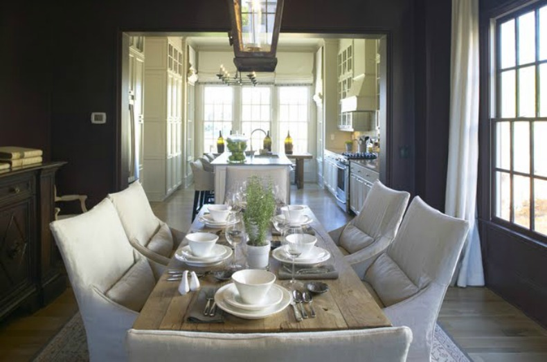 Coastal Dining Room with Dark Table