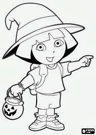 halloween dora coloring pages - 5 dora halloween coloring pages