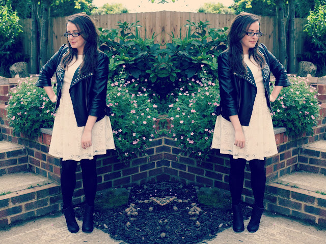 outfit-post-lace-skater-dress-and-leather-studded-jacket-blogger