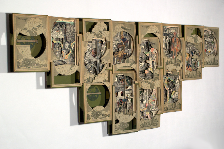 Dog eared and underlined recycle books into art for How to reuse old books