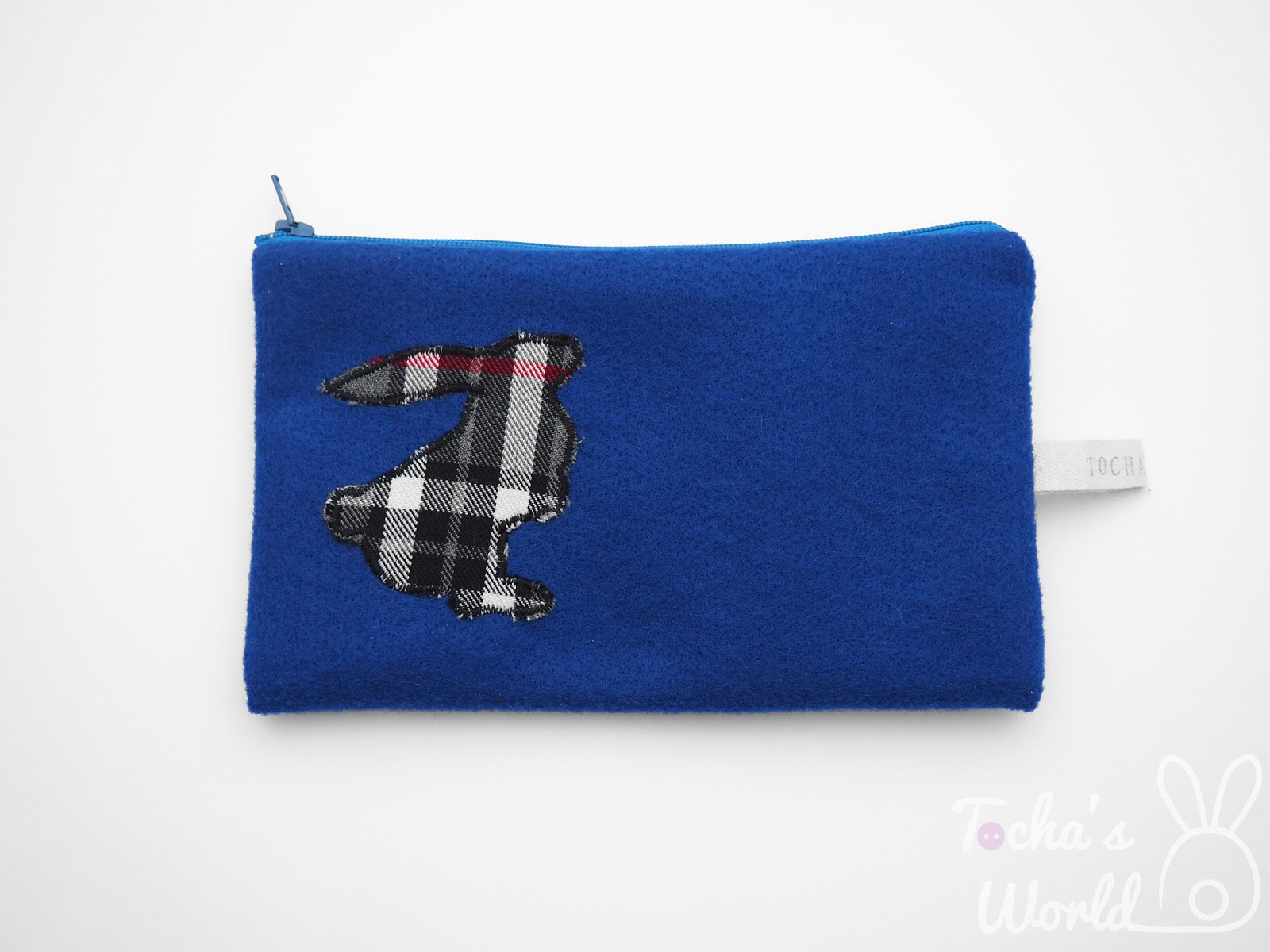 eco felt, vegan felt, recycled, pencil case, cosmetic bag, purse, scottie dog, rabbit, westie, tartan, Tocha's World