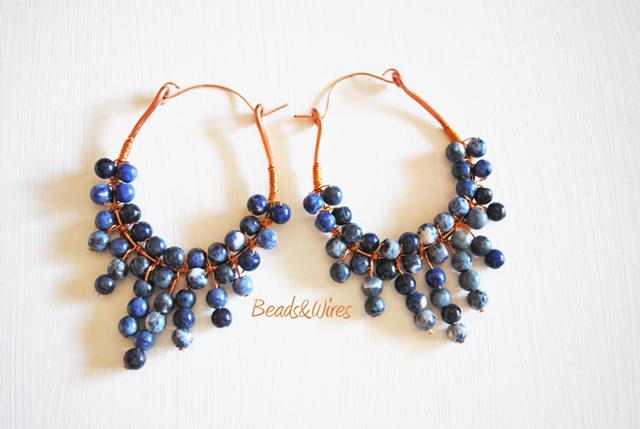 Orecchini grappolo beads&wires