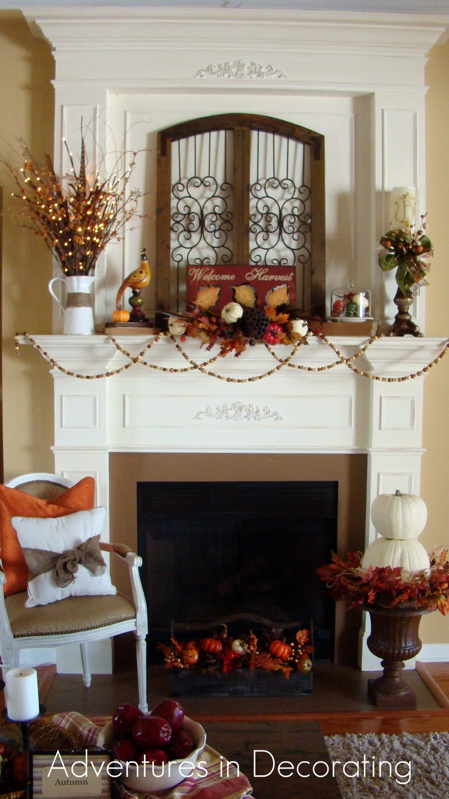 adventures in decorating our i give up fall mantel. Black Bedroom Furniture Sets. Home Design Ideas